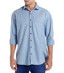 camisa dudalina manga longa light blue maquinetada masculina (jeans claro, 7)