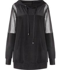 plus size mesh panel kangaroo pocket hoodie