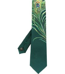 dolce & gabbana peacock feather-print tie - green