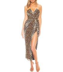 women's katie may come on home leopard print strapless chiffon midi dress, size x-small - beige