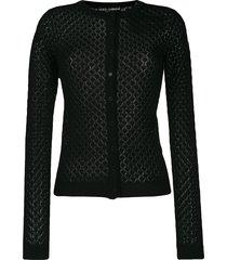 dolce & gabbana crochet knit cardigan - black