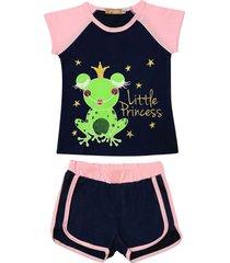 conjunto pijama de sapinho douvelin azul - azul marinho/rosa - menina - algodã£o - dafiti