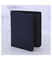leather bifold wallet, 'noble navy' (india)