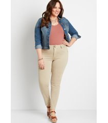 maurices plus size womens high rise khaki double button jegging made with repreve beige