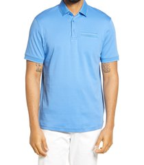 bugatchi tipped short sleeve polo shirt, size x-large in classic blue at nordstrom
