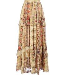 etro breton ruffled print silk skirt