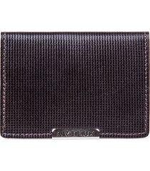 porta cartão artlux com visor marrom