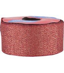 fita de cetim com lurex 38mm 10m vermelho