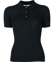 dion lee ribbed merino wool polo top - blue
