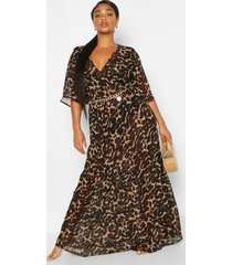 plus strandmidi-jurk met ruches en luipaardprint, bruin