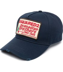 dsquared2 distressed brothers baseball cap - blue