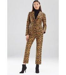 natori leopard jacquard blazer jacket, women's, brown, cotton, size 12 natori