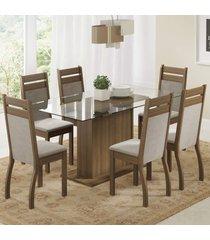 conjunto sala de jantar laís madesa mesa tampo de vidro com 6 cadeiras marrom