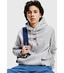 polerón tommy jeans tjm straight logo hoodie gris - calce regular
