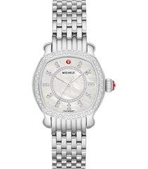 women's michele lilou diamond bracelet watch, 34mm