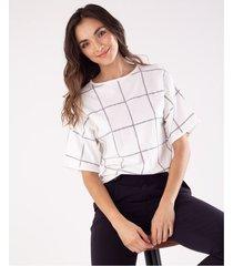 camiseta tejida para mujer crudo con cuadros estampados