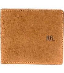ralph lauren suede billfold wallet - brown