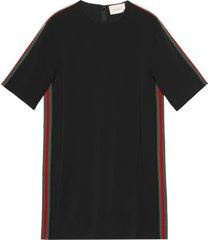 gucci stretch viscose tunic dress with web - black