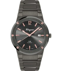 men's salvatore ferragamo f-80 classic gunmetal bracelet watch, 41mm