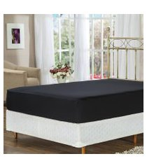 lençol de baixo solteiro preto com elástico soft touch plumasul