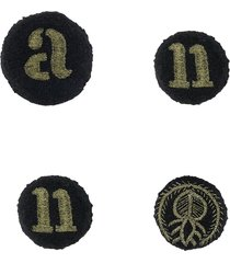 ann demeulemeester embroidered typography brooches - black