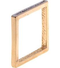 anel quadrado com cravacao de zirconias