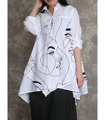 camicetta allentata con stampa astratta modello a maniche lunghe irregolare