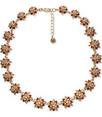 """charter club gold-tone crystal poinsettia collar necklace, 17"""" + 2"""" extender, created for macy's"""