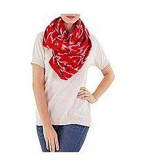 cotton infinity scarf, 'ruby maya' (guatemala)