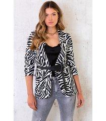 zebra blazer zwart wit