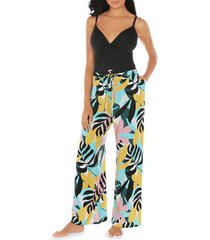 tahari women's poptomistic coverup pants - blue multicolor - size l