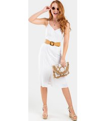 erin button front midi dress - white