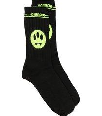 barrow logo intarsia mid-calf socks - black