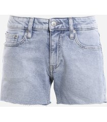 calvin klein jeans stretch cotton shorts with raw cut details