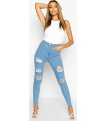 high rise super distressed skinny jeans, light blue