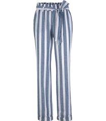 pantaloni paper bag in tencel™ lyocell e lino (blu) - bpc bonprix collection