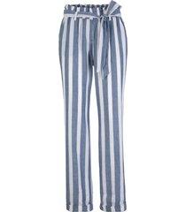 pantaloni paper bag sostenibili  in tencel™ lyocell e lino (blu) - bpc bonprix collection