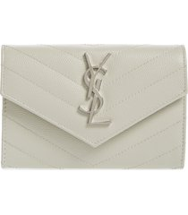 women's saint laurent small monogram leather french wallet - white