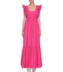 fuchsia cotton poplin maxi dress