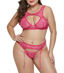 plus size lace cutout sheer gartered bralette set