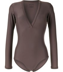 matteau long-sleeved v-neck swimsuit - brown
