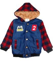 jaqueta casaco manabana infantil grossa com pelucia jeans - azul/vermelho - l㣠- dafiti