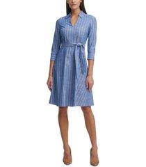tommy hilfiger cotton striped belted dress