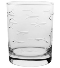 rolf glass school of fish double old fashioned 14oz - set of 4 glasses