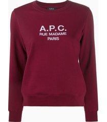 a.p.c. rue madame paris sweatshirt - red