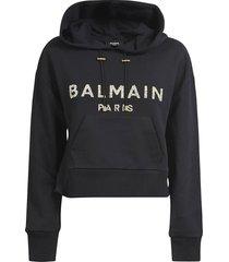 balmain embellished logo hoodie