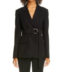 women's adeam harness detail belted crepe jacket, size 6 - black