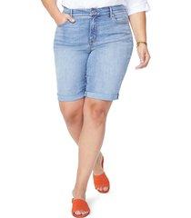plus size women's nydj briella cool embrace roll cuff denim shorts