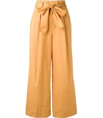 forte forte waist-tied flared trousers - brown