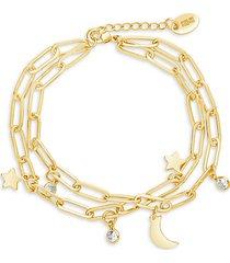 moon & star 14k goldplated & cubic zirconia multi-strand bracelet